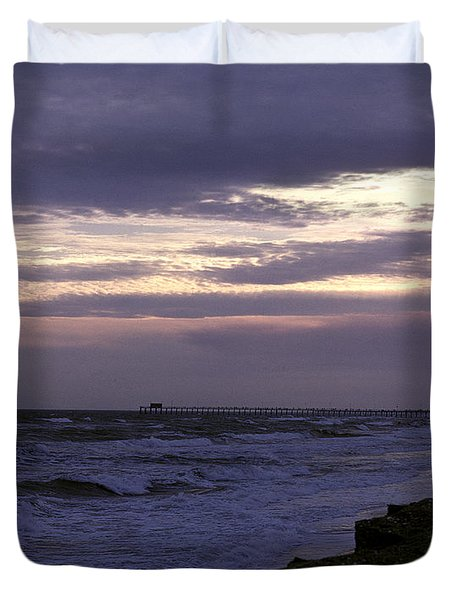 Duvet Cover featuring the photograph Fishing Pier Before The Storm 14a by Gerry Gantt