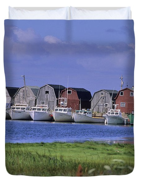 Fishing Shacks Line The Bay At Malpeque Duvet Cover by Leanna Rathkelly