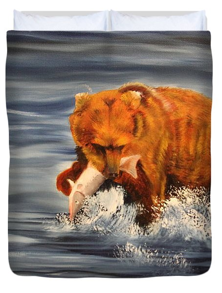 Fishing Duvet Cover by Terry Lewey