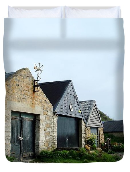 Duvet Cover featuring the photograph Fishman Shed by Katy Mei