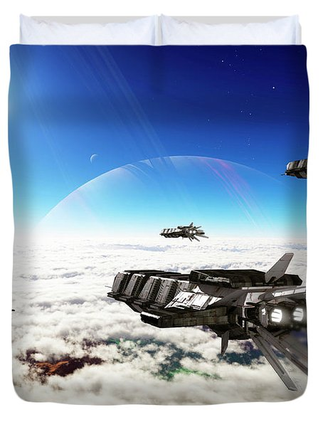 Five Medium Freighters Deccelerate Duvet Cover by Brian Christensen