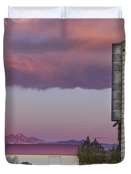 Flag Silo And Longs Peak Duvet Cover by James BO  Insogna