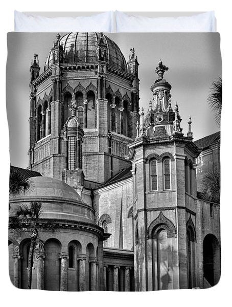 Flagler Memorial Presbyterian Church 3 - Bw Duvet Cover by Christopher Holmes