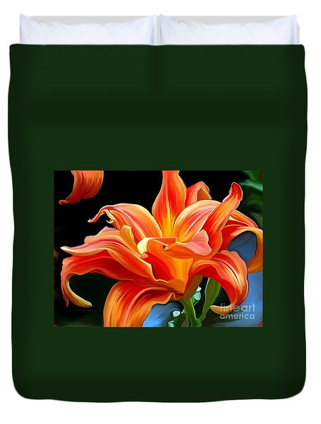Flaming Flower Duvet Cover by Patricia Griffin Brett