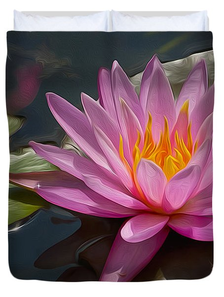 Flaming Waterlily Duvet Cover