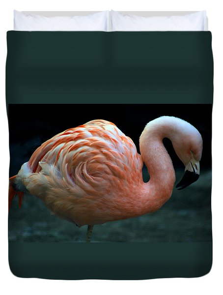 Duvet Cover featuring the photograph Flamingo by Tammy Espino