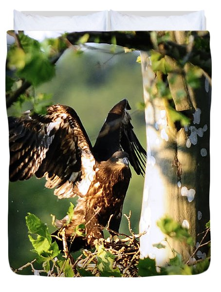 Duvet Cover featuring the photograph Fledgling Testing The Wind by Randall Branham