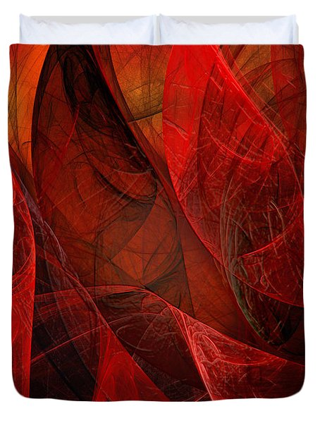 Flickering Flaming Fractal 2 Duvet Cover by Andee Design
