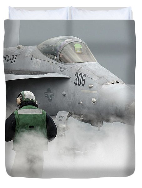 Flight Deck Personnel Are Surrounded Duvet Cover by Stocktrek Images