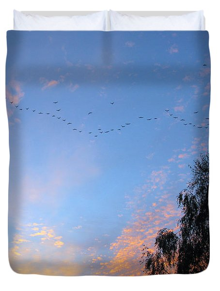 Flight Into The Sunset Duvet Cover by Ausra Huntington nee Paulauskaite