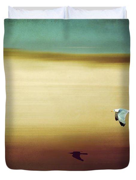 Flight Over The Beach Duvet Cover by Hannes Cmarits