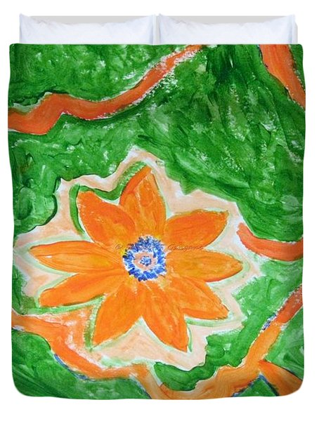 Duvet Cover featuring the painting Floating Flower by Sonali Gangane