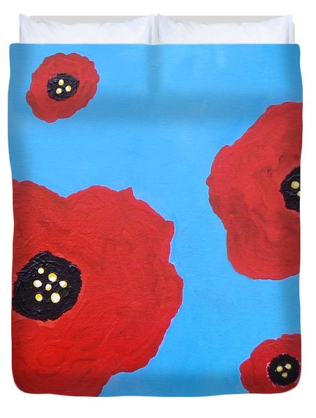 Duvet Cover featuring the painting Floating Flowers by Alys Caviness-Gober