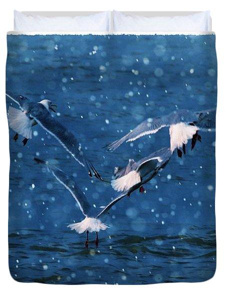 Flock  Duvet Cover by Debra  Miller
