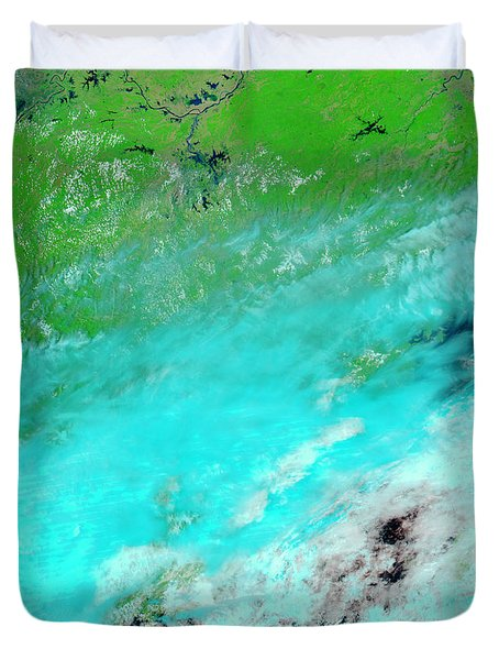 Floods In Jiangxi Province, China Duvet Cover by Nasa