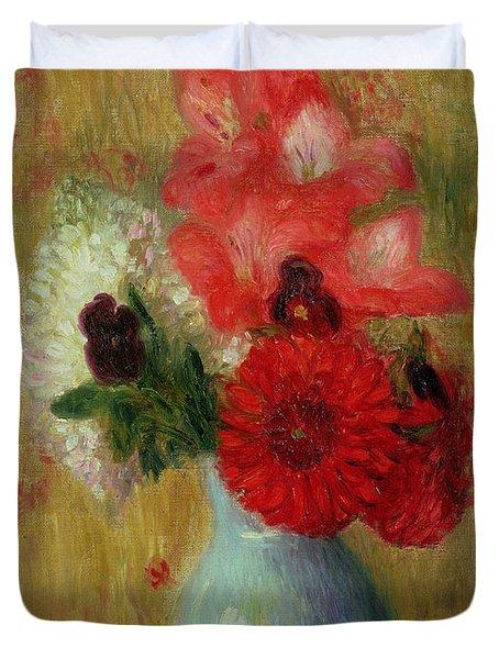 Floral Arrangement In Green Vase Duvet Cover by William James Glackens