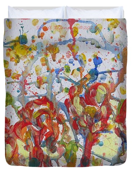 Duvet Cover featuring the painting Floral Feel by Sonali Gangane