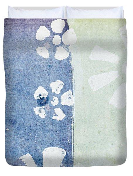 Floral Pattern On Old Grunge Paper Duvet Cover by Setsiri Silapasuwanchai