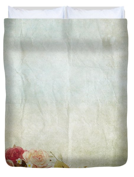 Floral Pattern On Old Paper Duvet Cover by Setsiri Silapasuwanchai