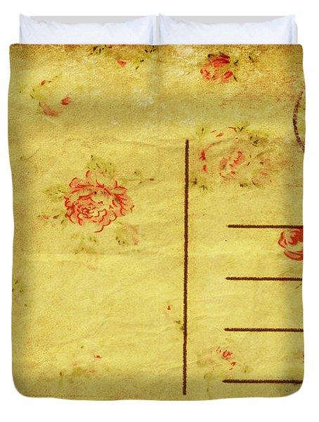 Floral Pattern On Old Postcard Duvet Cover by Setsiri Silapasuwanchai