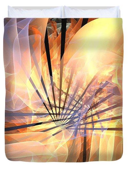 Floral Supernova Duvet Cover by Kim Sy Ok