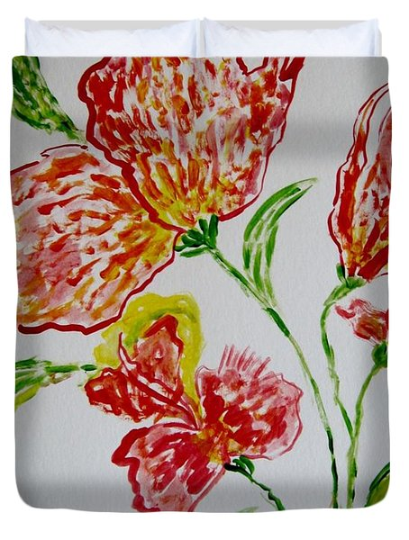 Duvet Cover featuring the painting Florals by Sonali Gangane