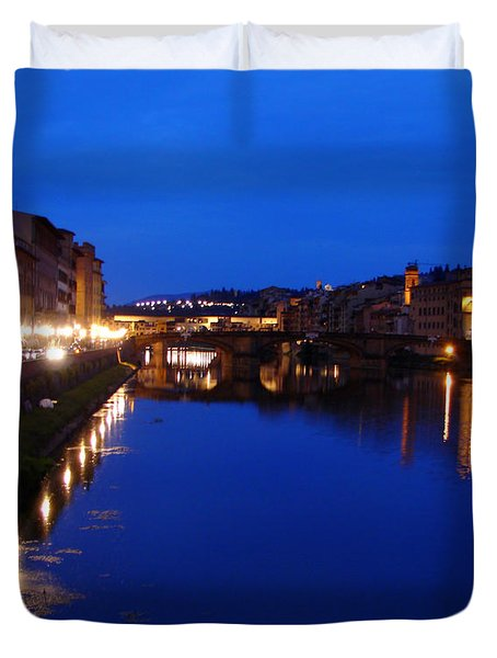 Duvet Cover featuring the photograph Florence Arno River Night by Patrick Witz