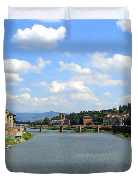 Duvet Cover featuring the photograph Florence Arno River by Patrick Witz