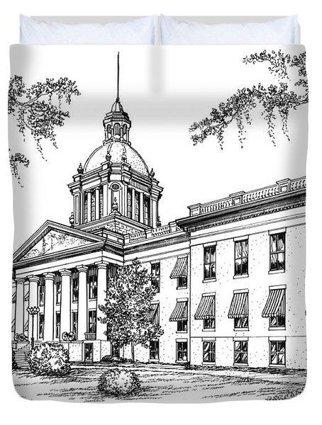 Florida Capitol 1902 Ink Duvet Cover