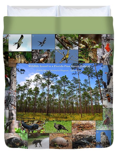 Duvet Cover featuring the photograph Florida Wildlife Photo Collage by Barbara Bowen