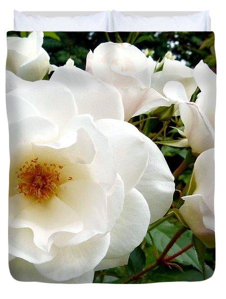 Flourishing Iceberg Roses Duvet Cover by Will Borden