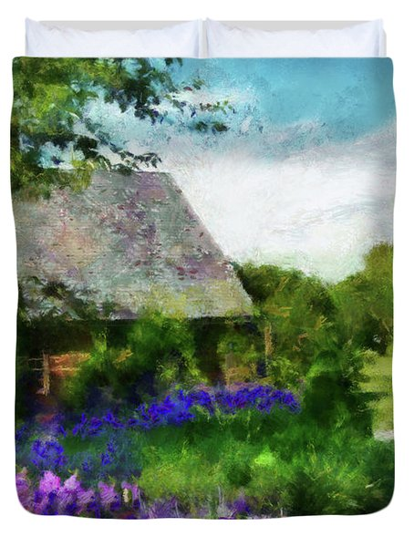 Flower - Town Square  Duvet Cover by Mike Savad