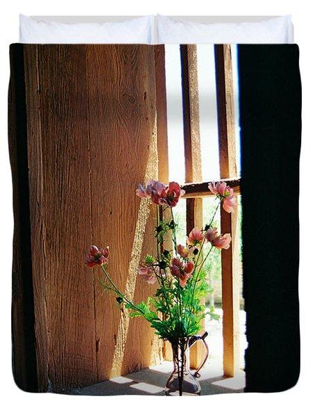 Flower In Window Duvet Cover