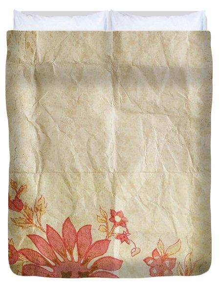 Flower Pattern On Old Paper Duvet Cover by Setsiri Silapasuwanchai