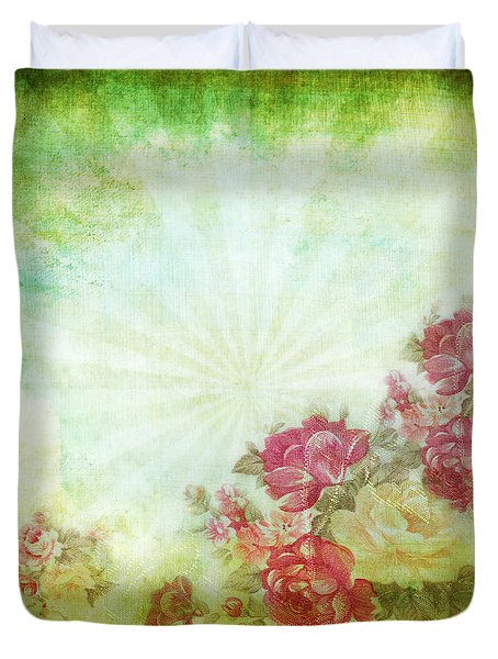 Flower Pattern On Paper Duvet Cover by Setsiri Silapasuwanchai