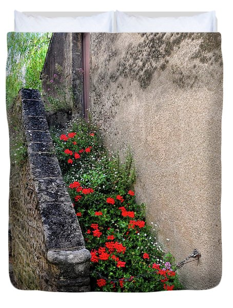 Duvet Cover featuring the photograph Flower Stairway by Dave Mills