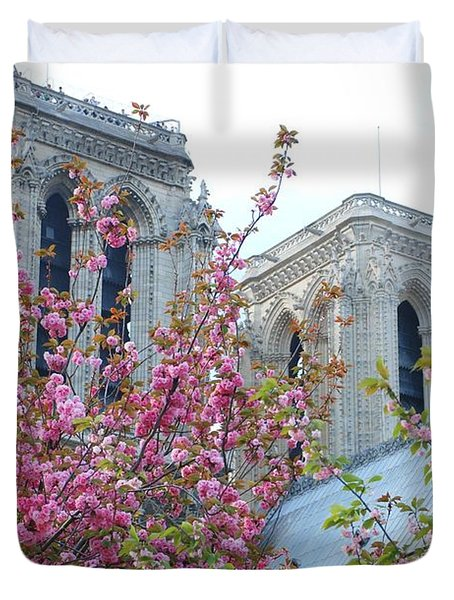Duvet Cover featuring the photograph Flowering Notre Dame by Jennifer Ancker