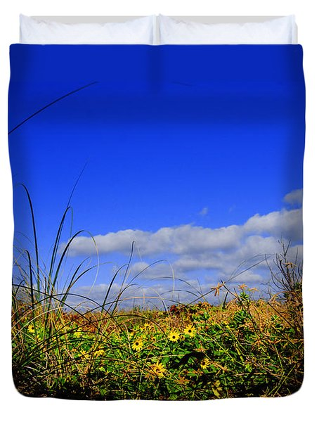 Flowers At The Beach Duvet Cover