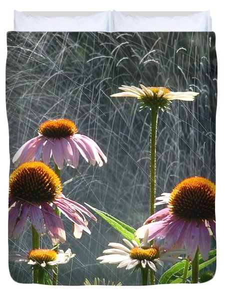 Flowers In The Rain Duvet Cover