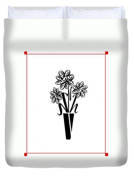 Duvet Cover featuring the photograph Flowers In Type by Connie Fox