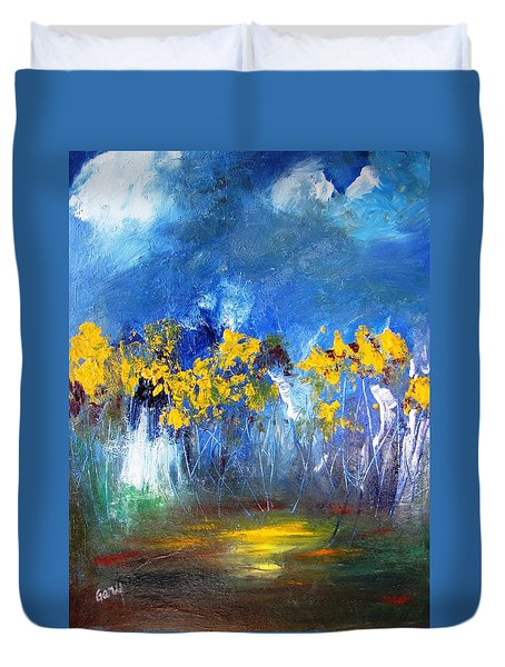 Duvet Cover featuring the painting Flowers Of Maze In Blue by Gary Smith