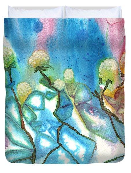 Flowers On Ice Duvet Cover