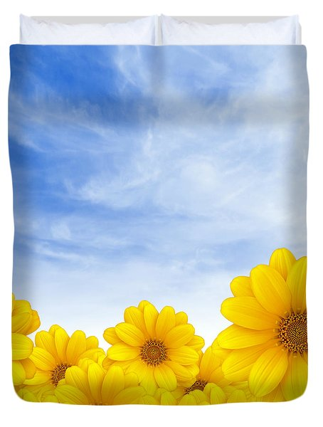 Flowers Over Sky Duvet Cover by Carlos Caetano