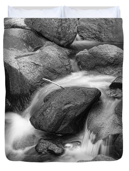 Flowing Water Down The Colorado St Vrain River Bw Duvet Cover by James BO  Insogna