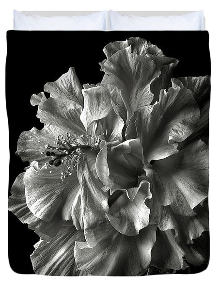 Fluffy Hibiscus In Black And White Duvet Cover