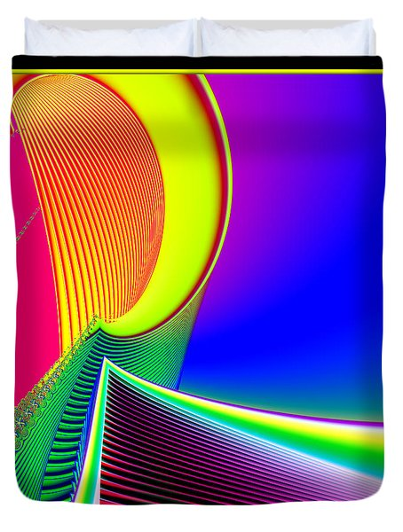 Fluorescent Boat And Giant Wave Fractal 95 Duvet Cover by Rose Santuci-Sofranko