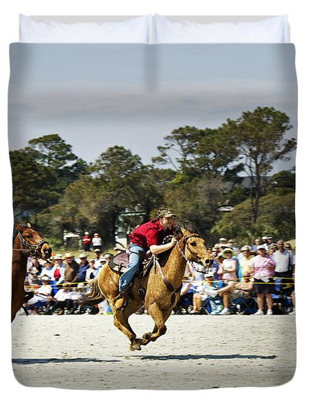 Flying At The Marsh Tacky Races Duvet Cover by Phill Doherty