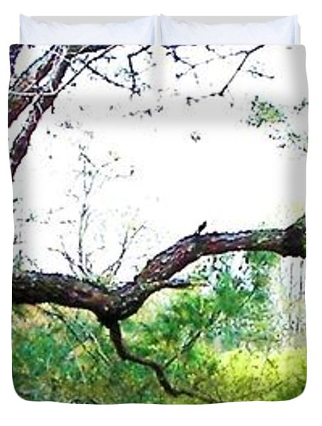 Duvet Cover featuring the photograph Flying Branch by Pamela Hyde Wilson