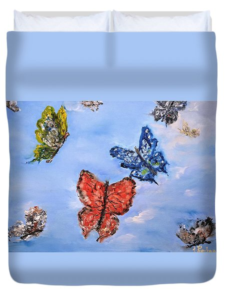 Duvet Cover featuring the painting Flying by Evelina Popilian