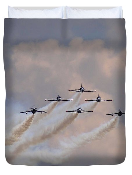 Flying In Formation Duvet Cover by Julia Wilcox